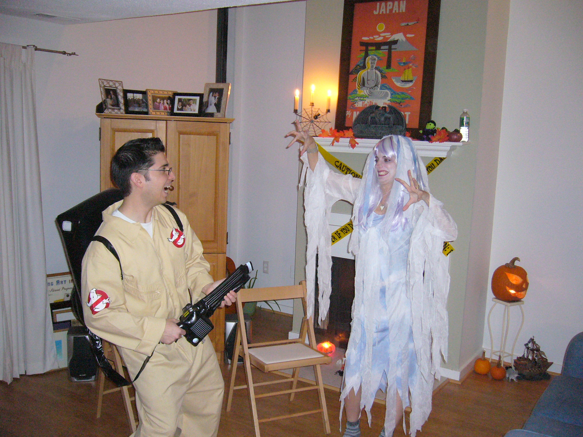Ghostbuster busting a ghost