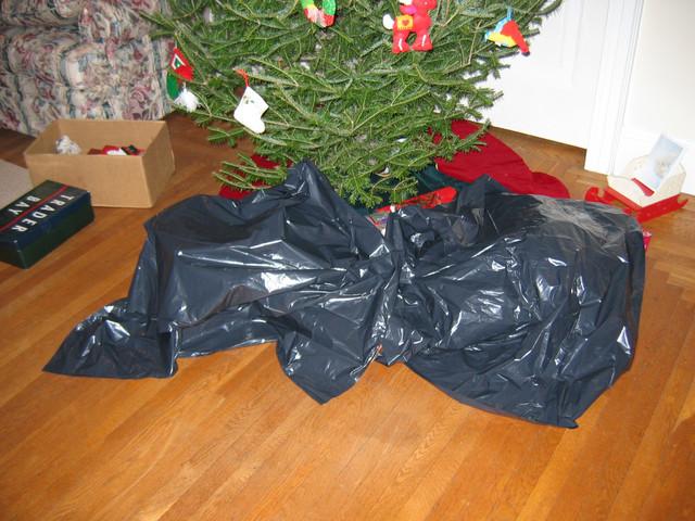 The presents, hidden under an elegant garbage bag.