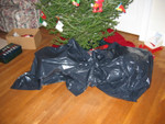 The presents, hidden under an elegant garbage bag.